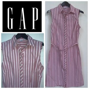 Gap Pink Striped Belted Button Down Dress Size 8